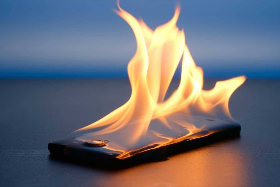 smartphone overheating and on fire